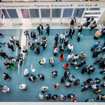 Conference goers from above